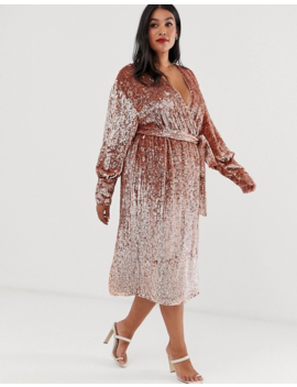 Asos Edition Curve Sequin Wrap Midi Dress by Asos Edition