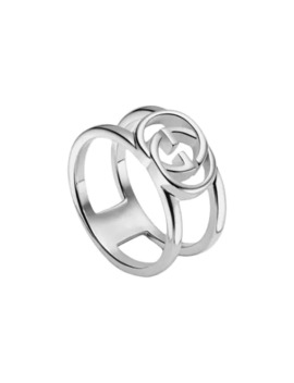 Wide Ring With Interlocking G Motif by Gucci