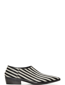 Black & White Okenite Pony Loafers by Haider Ackermann