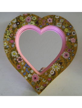 Vintage Hand Painted Wooden Floral Heart Mirror Pink by Ebay Seller