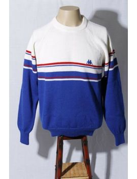 Vtg Kappa Sport Made In Italy Men's Blue White Red Wool Sweatshirt Sweater L by Kappa