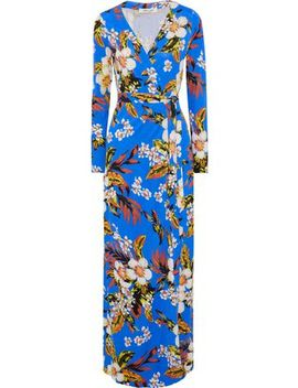 New Julian Floral Print Silk Jersey Maxi Wrap Dress by Diane Von Furstenberg