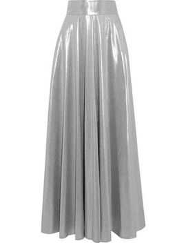 Pleated Lamé Maxi Skirt by Diane Von Furstenberg