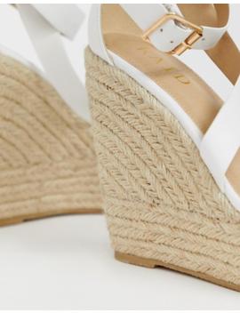 Raid Zain White Espadrille Wedge Sandals by Raid