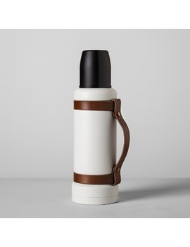 Portable Beverage Mug With Leather Strap (40oz)   Cream/Black   Hearth &Amp; Hand With Magnolia by Cream/Black