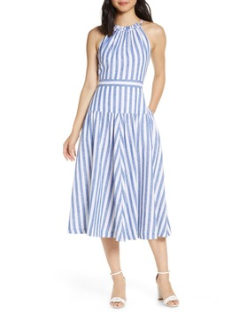 Stripe Halter Linen Blend Midi Dress by Eliza J