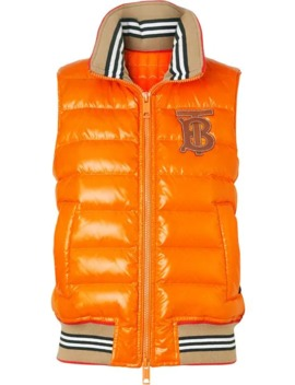Icon Stripe Detail Down Filled Puffer Gilet by Burberry