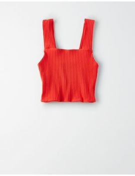 Ae Square Neck Cropped Tank Top by American Eagle Outfitters