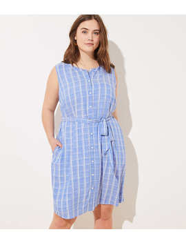 Loft Plus Plaid Sleeveless Tie Waist Shirtdress by Loft