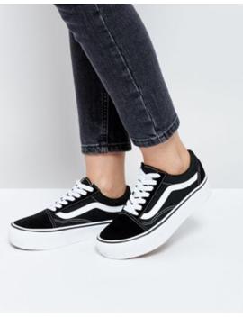 Черные кроссовки на платформе Vans   Old Skool by Vans