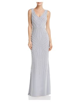 Embellished Column Gown by Avery G