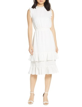 Tonal Stripe Ruffle Dress by Avec Les Filles