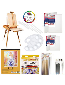 U.S. Art Supply 62 Piece Oil Artist Painting Kit With Wood French Easel 24 Paint by U.S. Art Supply
