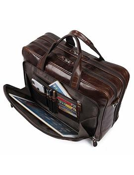 Augus Leather Briefcases For Men, Waterproof Travel Messenger Duffle Bags 17 Inch Laptop Bag (Cofee 1) by Augus