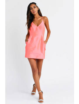 Selena Neon Pink Satin Hourglass Dress by Tobi