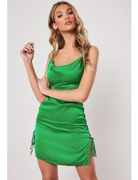 Green Cowl Front Lace Up Satin Bodycon Mini Dress by Missguided
