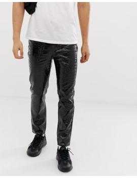 Jaded London Trousers In Black Croc Pu Print by Jaded London