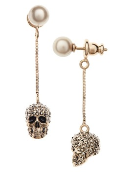 Pavé Skull Drop Earrings by Alexander Mcqueen