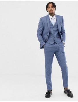 Облегающий костюм в клетку синего цвета и цвета ржавчины Harry Brown by Asos