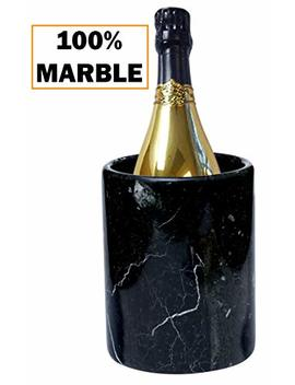 "Wine Chiller Tabletop Handmade Marble Wine Chillers   5x5x6.5 Inch"" Tall Portable Home & Kitchen Decoration   Black Champagne Cooler Best For Utensil, Flower Vase & Stationery Holders (Bz 03) by Radica Ln"