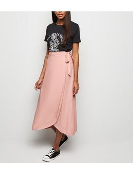 Pale Pink Wrap Midi Skirt by New Look