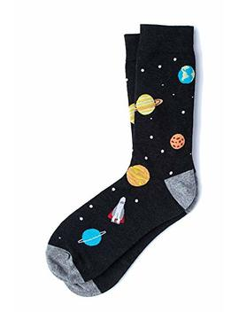 Men's Black Solar System &Amp; Rocket Ship Space Novelty Crew Dress Socks by Sock Genius