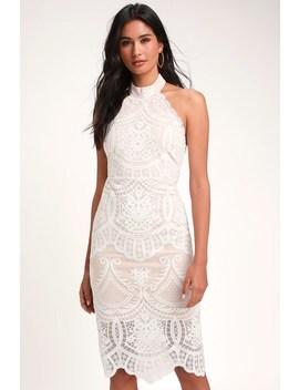 Celebrate Life White Lace Halter Midi Dress by Lulus