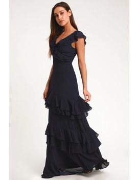 Majesty Navy Blue Ruffled Maxi Dress by Lulus