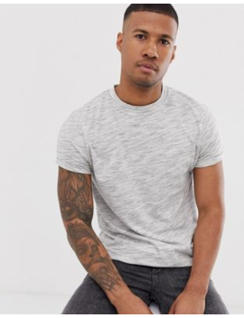 Asos Design T Shirt With Roll Sleeve In White Interest Fabric by Asos Design