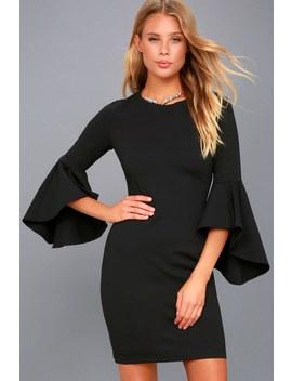 Gimme Some Flair Black Flounce Sleeve Bodycon Dress by Lulus