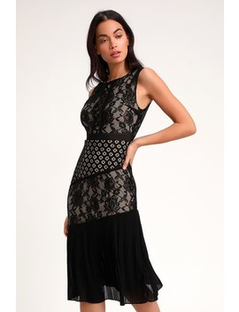 Sandia Black Lace Sleeveless Midi Dress by Lulus