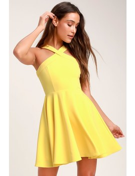 The Way You Look Tonight Yellow Halter Skater Dress by Lulus