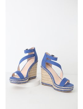 Fiona Blue Nubuck Espadrille Wedges by Lulu's