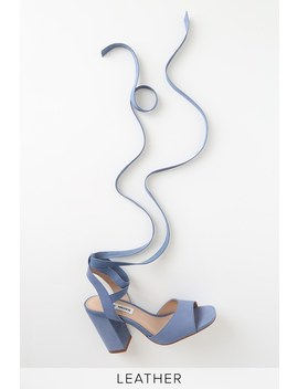Kenny Blue Nubuck Leather Lace Up Heels by Steve Madden
