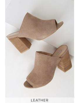 Yesenia Taupe Suede Leather Peep Toe Mules by Sbicca