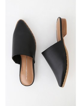 Irina Black Pointed Toe Mules by Report