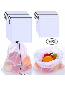 Reusable Produce Bags   Mesh Bags   Set Of 10   Washable, Heavy Duty, Eco Friendly Bags Storage Totes For Grocery Shopping Fruits, Vegetables, Food by Su Ready