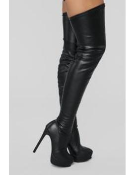 Envious Much Faux Leather Heeled Boot   Black by Fashion Nova
