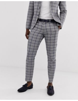 Selected Homme Slim Suit Trouser In Window Pane Check Cotton Linen by Selected Homme