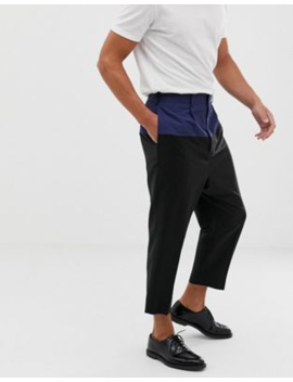 Asos Design Drop Crotch Tapered Smart Trouser In Black Wool With Techy Cut And Sew by Asos Design