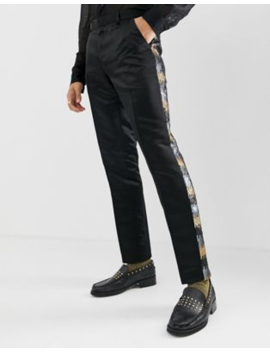 Asos Edition Skinny Suit Trousers In Grey And Gold Sequins by Asos Edition