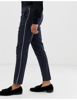 Burton Menswear Slim Trousers In Navy Pinstripe by Burton Menswear London