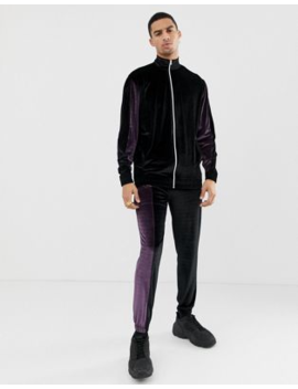 Asos Design Tracksuit Track Jacket/Skinny Joggers With Colour Blocking In Velour by Asos Design