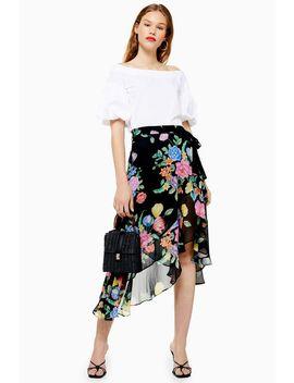 Petite Floral Chiffon Wrap Midi Skirt by Topshop