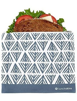 Lunchskins Z Med Geomet Blu Reusable Zippered Sandwhich Bag, Food Bag, Storage Bag, Blue Geometric by Lunch Skins