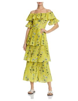 Pleated Tiered Floral Maxi Dress   100% Exclusive by Aqua