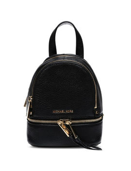 Michael Kors Rhea Zip Black Leather Strap Backpack Women's Bag Medium Small by Michael Kors