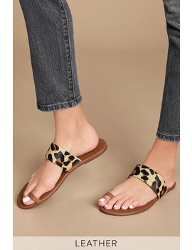 Tessa Cognac Nappa And Leopard Calf Hair Toe Loop Sandals by Lulus