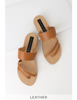 Geena Cognac Leather Flat Sandals by Steven