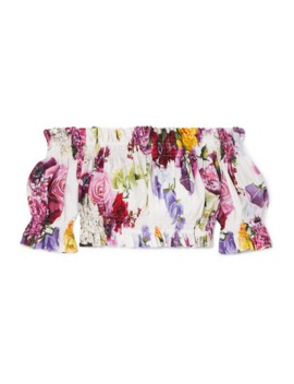 Cropped Off The Shoulder Floral Print Shirred Cotton Poplin Top by Dolce &Amp; Gabbana